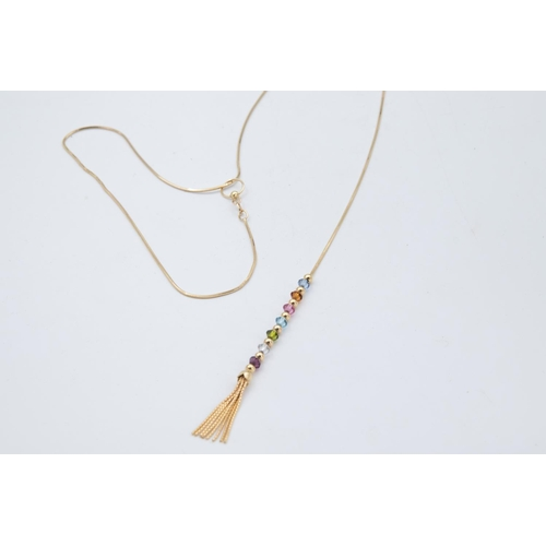 36 - 18 Carat Gold Lariat Ladies Necklace Snake Chain Terminating in Row of Alternating Spherical Gold Be...