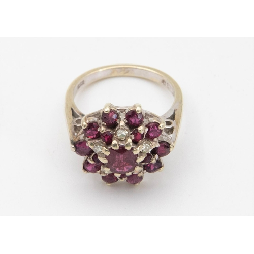 38 - Ruby and Diamond Cluster Ring 9 Carat White Gold Circular Mixed Cut Ruby Claw Set to Centre to Two T...