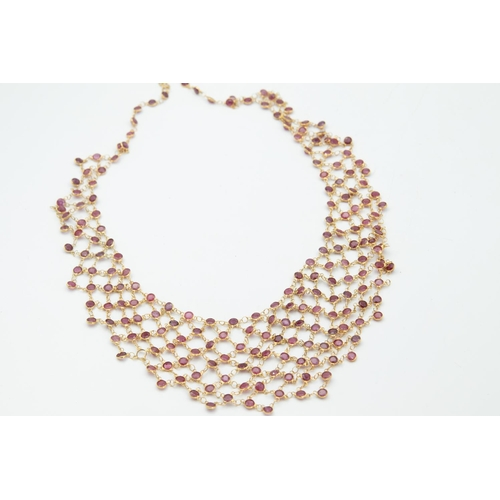39 - 14 Carat Yellow Gold Ruby Bib-Style Necklace with Series of Round Mixed Cut Rubies All Spectacle Set...