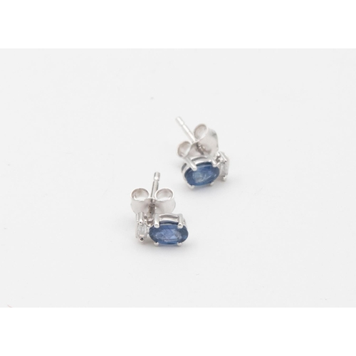 46 - Pair of 18 Carat White Gold Sapphire and Diamond Decorated Ladies Stud Earrings Oval Mixed Cut Sapph...