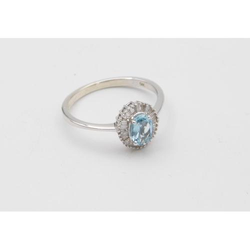 49 - Aquamarine and Diamond Ladies Cluster Ring Mounted on 9 Carat White Gold Oval Mixed Cut Aquamarine C...