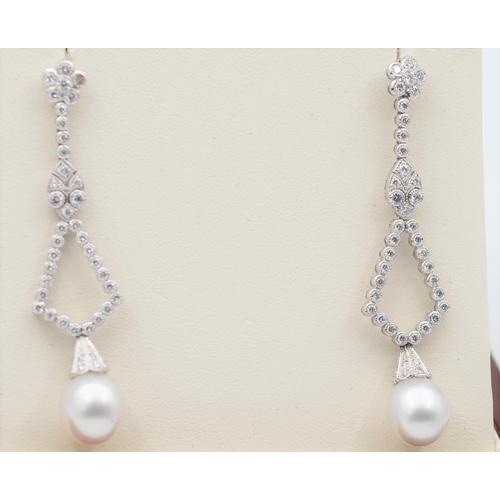5 - Pair of Diamond and Pearl Set Ladies Drop Earrings Modernist Form Mounted on 18 Carat White Gold Pea...