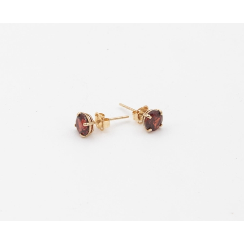 50 - Pair of 9 Carat Yellow Gold Set Single Stone Garnet Stud Earrings Circular Mixed Cut Garnets Claw Se...