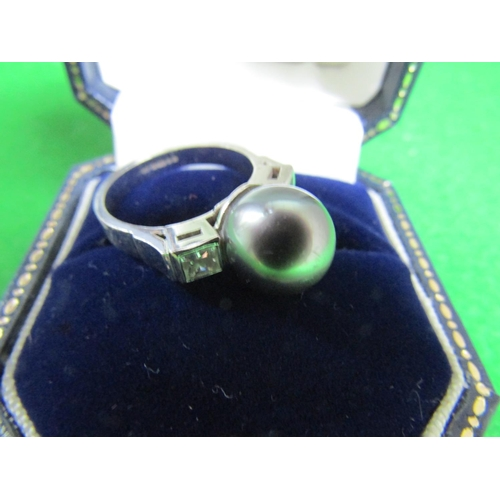 51 - 18 Carat Gold Set Tahitian Pearl Ladies Ring with Diamond Decorated Shoulders Attractive Form Ring S...