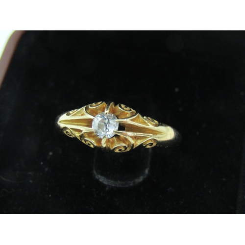 53 - Ladies Diamond Solitaire Ring Set on 18 Carat Yellow Gold Band with Attractively Detailed Scroll Mot...