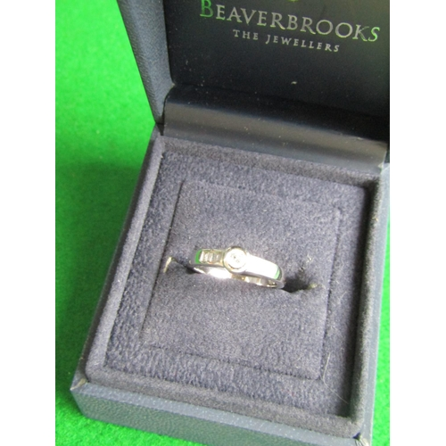 54 - Ladies Diamond Ring Mounted on 18 Carat White Gold with Central Diamond Set within Rubover Setting B...