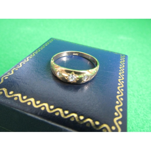 56 - Three Stone Ladies Diamond Ring Mounted on 18 Carat Yellow Gold Band Size N and a Half