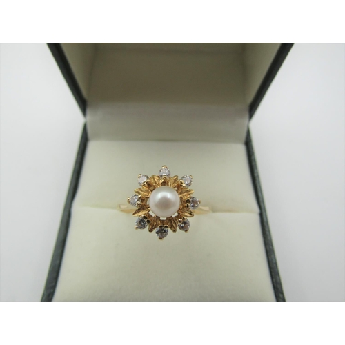 57 - Pearl Set Ladies Diamond Cluster Ring of Attractive Form Diamonds of Good Colour Mounted on 18 Carat...