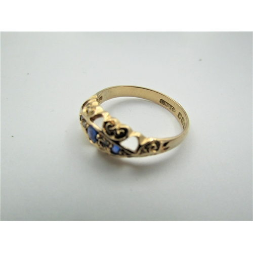 58 - Sapphire and Diamond Ladies Three Stone Ring Mounted on 18 Carat Yellow Gold Ring Size P