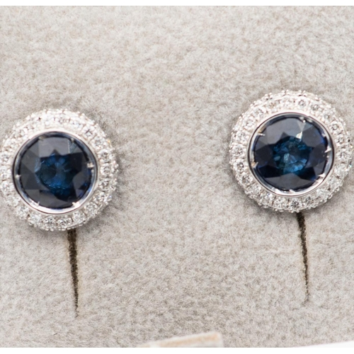 7 - Pair of Sapphire and Diamond Cluster Earrings Circular Form Mounted on 18 Carat White Gold Sapphires...