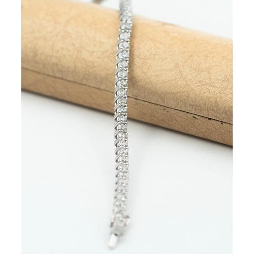 8 - Exceptional Diamond Set Ladies Tennis Bracelet Mounted on 18 Carat White Gold 46 Diamonds Approximat...