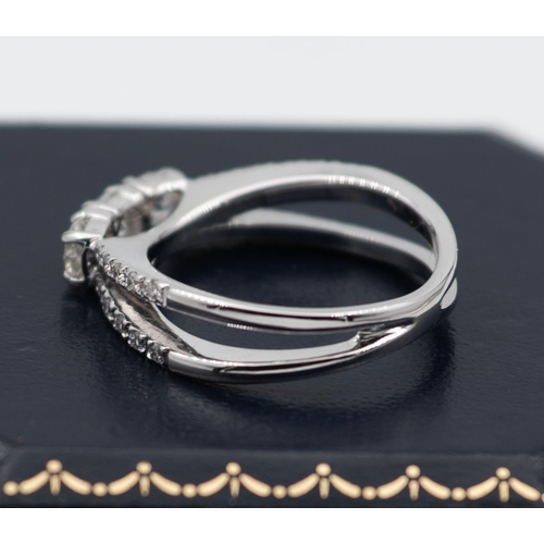 9 - Trilogy Diamond Ring Set with Three High Colour Clear Diamonds Total Approximately .8 Carat Mounted ...