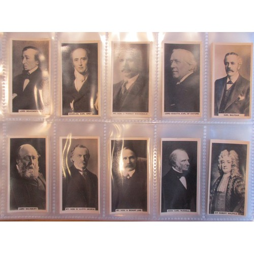 7 - Coln. of mainly complete sets, in 2 albums, in variable cond., incl. Carreras British Prime Minister...
