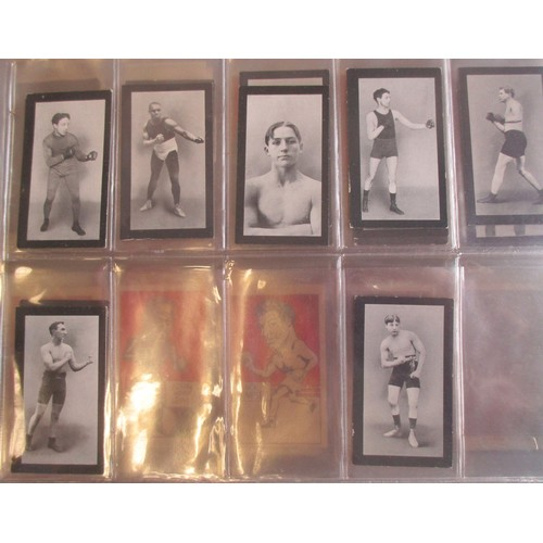 13 - Coln. of boxing part sets, in an album, in variable cond., incl. Burstein Isaacs Famous Prize Fighte...
