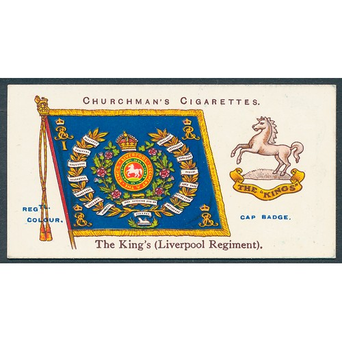 19 - Churchman. 1912 Regimental Colours & Cap Badges set, generally in very good cond., apart from the od...
