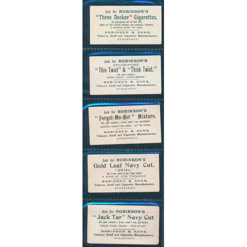24 - Robinson & Sons. 1897 Beauties (10 Brands), part set of 5 cards, (2 fair, 1 good, 2 very good). Cat....