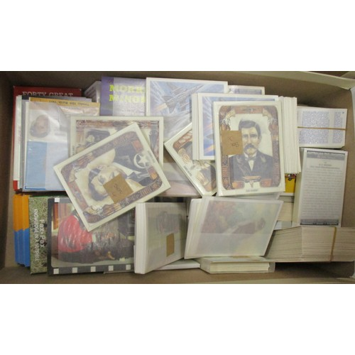 33 - Coln. of complete and part sets, in 7 boxes, in bundles and stuck in albums, mainly trade with A. & ...