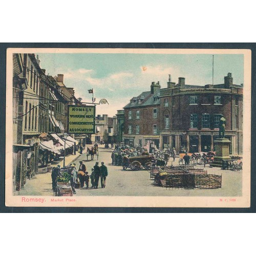 58 - Misc. coln. of loose cards mainly ptd. Street scenes noted of Romsey, Iford, Budleigh Salterton, New...
