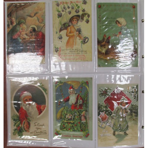 50 - Misc. coln in modern album. Greetings incl. Father Christmas and snowman, Louis Wain (8 in mxd. cond...