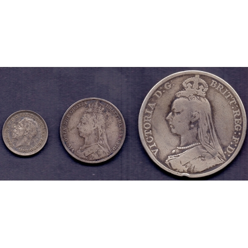 27 - COINS : 1889 Great Britain silver crown, 1892 Shilling and 1933 sixpence (3)...