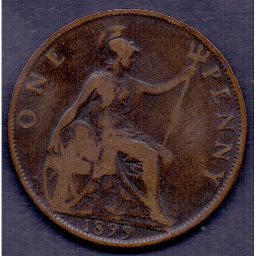 28 - COINS : 1899 old head penny in good to fine condition...
