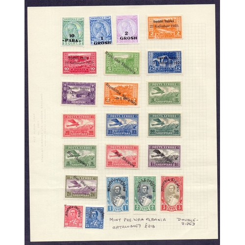 53 - STAMPS : Album page of mint pre-war Albania stamps stated to Cat £218...