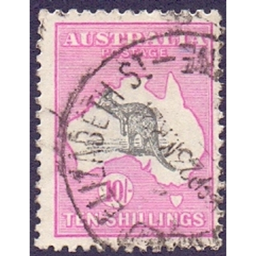 58 - 1915 10/- Grey and Bright Aniline Pink, fine used SG 43a...