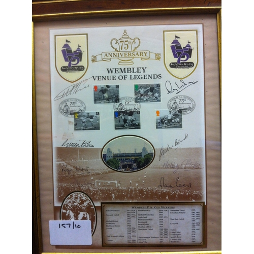 47 - 1966 World Cup Winners signatures on framed special 75th Anniversary of Wembley Stadium spamp displa...