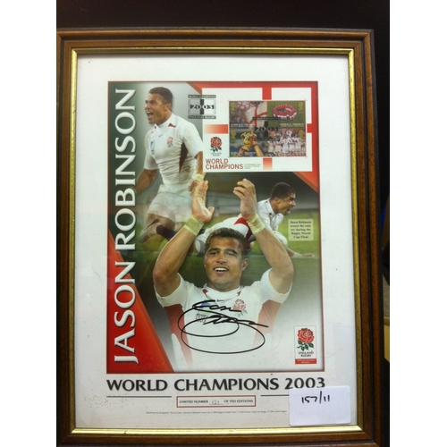 49 - JASON ROBINSON - Rugby World Champions framed and glazed limited edition minisheet display signed by...