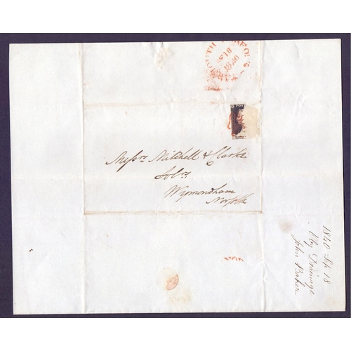 35 - POSTAL HISTORY : Weird lot of 1840's covers which have been worth a lot of money but the stamps (Pen...