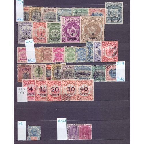 10 - STAMPS : BRITISH COMMONWEALTH, Asia; collection on double sided stock pages inc useful North Borneo ...