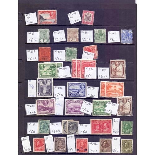27 - STAMPS : Commonwealth singles and in album on stock pages, mounted mint QV to GV high Catalogue valu...