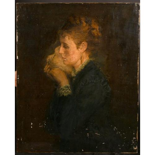 291 - Annie L Robinson Swynnerton (1844-1933), a portrait of a Lady holding a dove, oil on canvas, indisti...