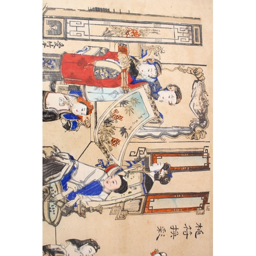 10 - TWO 19TH / 20TH CENTURY CHINESE COLOURED PRINTS, the first depicting a procession or carnival with b...