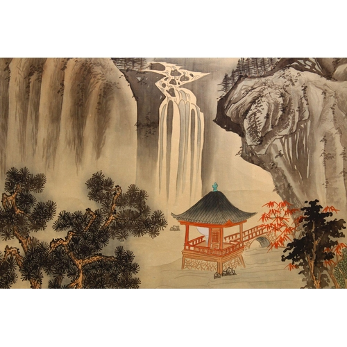 11 - A CHINESE PAINTED SCROLL PICTURE OF A LANDSCAPE, the picture painted to depict a mountainous waterfa...