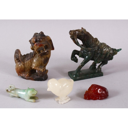 15 - A MIXED LOT OF CHINESE CARVED HARDSTONE FIGURES OF ANIMALS, one jadelike horse 9cm, one soapstone li...