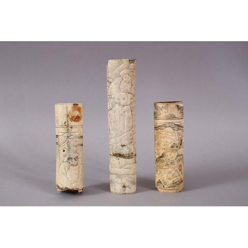 24 - THREE 19TH CENTURY CHINESE CARVED IVORY SWORD / KNIFE HANDLES, each carved with various figures, 16c...