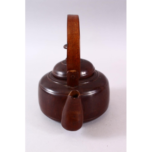 4 - A GOOD CHINESE CARVED WOOD POSSIBLY HUANGHUALI / ZITAN TEA POT & COVER, the close knit grain dense w...