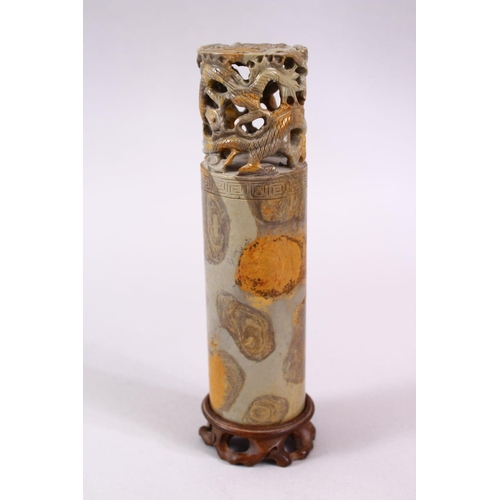 44 - A LARGE CHINESE CARVED SOAPSTONE CYLINDRICAL SEAL WITH ADRAGONS, the cylindrical body with a greek k...