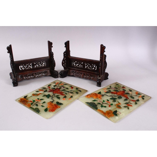 47 - A FINE PAIR OF CHINESE CARVED AND INLAID JADE SCREENS ON STAND, inlaid with a multitude of hardstone...