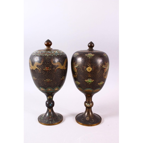 6 - TWO GOOD 19TH CENTURY OR EARLIER CHINESE CLOISONNE STEM VASES & COVERS, each decorated with gilt wir...