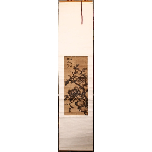60 - A EARLY 20TH CENTURY SCROLL PAINTING, depicting a flowering tree, signed and with red seal mark, ima...
