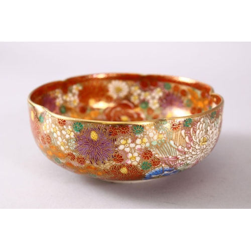 7 - A JAPANESE SATSUMA CERAMIC MILLEFLEUR BOWL, decorated with thousand flower style decoration with gil...