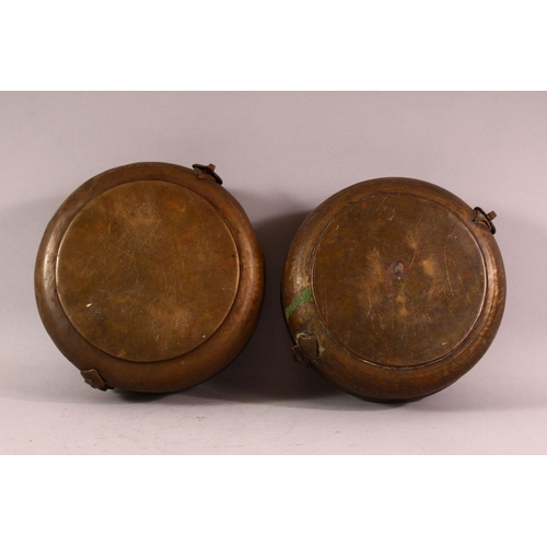 25 - A PAIR OF INDIAN SPICE BOXES, both with hinged lid and handle to top, both approx. 21cm diameter.