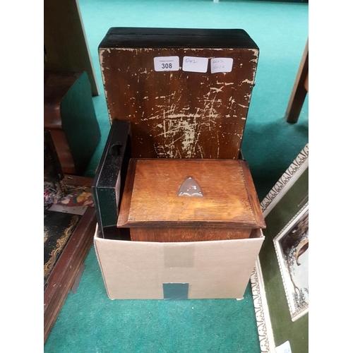 1025 - An oak stationery box, a tray and a mahogany box....
