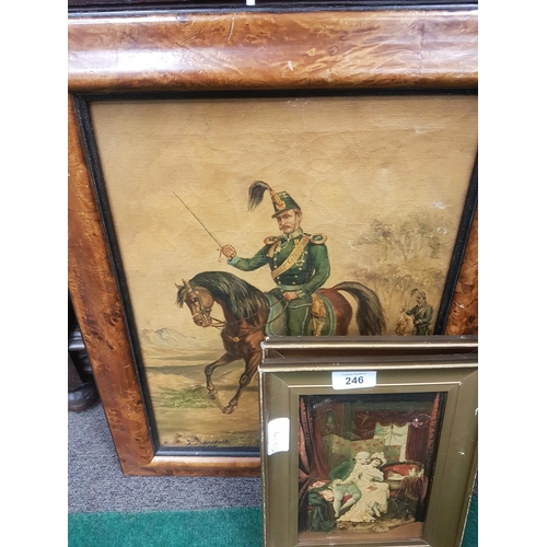 1040 - Three pictures: A pair of interior scenes, and an Hussar on horseback signed Bilderveck....