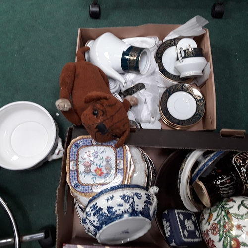 1019 - Two boxes of various china to include the residue of a Noritake tea set....