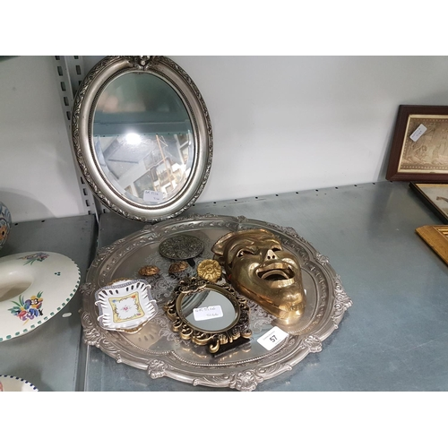 1014 - A tray, 2 mirrors, pair of masks and assorted items....