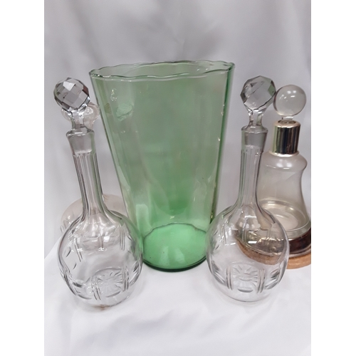 1020 - A box of glassware to include vintage  decanters and glasses....