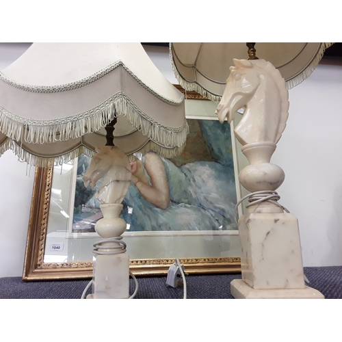 1041 - Two table lamps depicting horses....